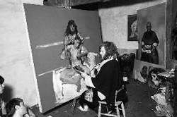 The artist painting his son Wolfe, 1983